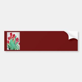 Un ramo de tulipanes rojos pegatina para auto