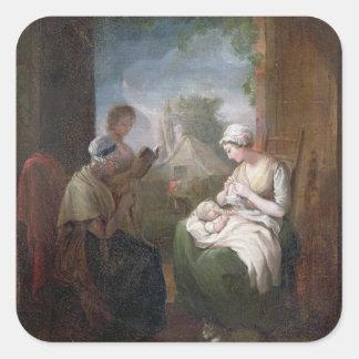 Un rato reservado, c.1810 (aceite en lona) pegatina cuadrada