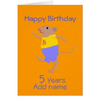 Un ratón del dibujo animado del baile, cumpleaños, tarjetón