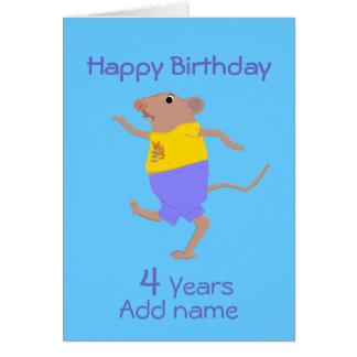 Un ratón del dibujo animado del baile, cumpleaños, tarjeta