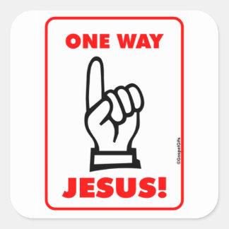 Un regalo cristiano de la placa de calle de Jesús Pegatina Cuadrada