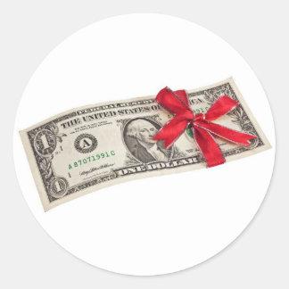 Un regalo del dólar pegatina redonda