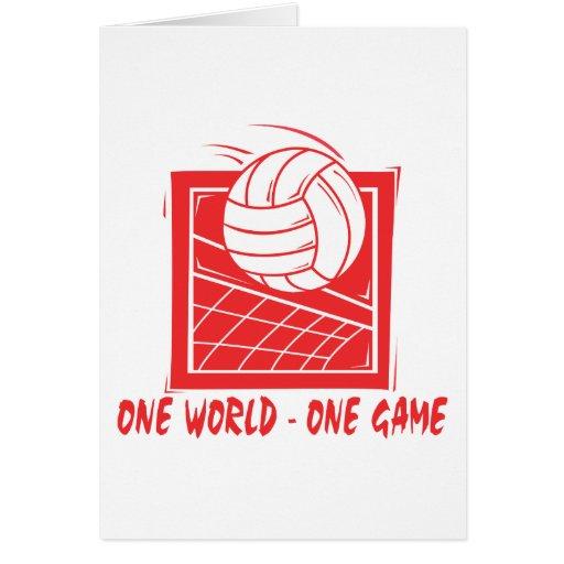 Un regalo del voleibol del juego del mundo uno felicitacion