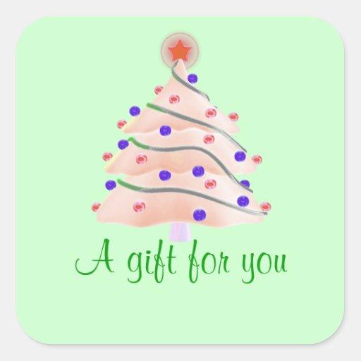 """""""Un regalo para usted"""" - árbol de navidad rosado Pegatina Cuadrada"""
