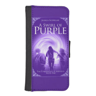 Un remolino de la caja púrpura de la cartera del funda tipo billetera para iPhone 5