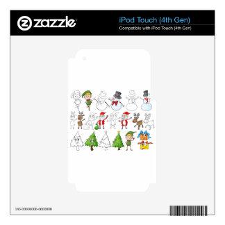 Un reno al lado de Papá Noel con su lista iPod Touch 4G Calcomanía