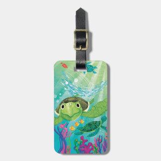 Un rescate de la tortuga de mar etiquetas bolsas