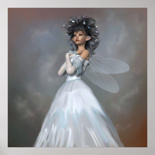 Un retrato de hadas azul póster