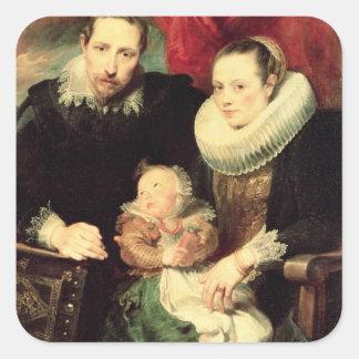 Un retrato de la familia, c.1618-21 calcomanía cuadrada