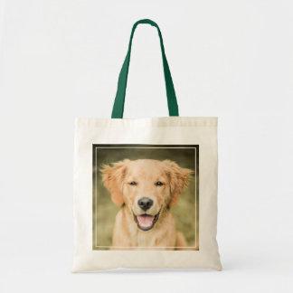 Un retrato de un perrito del golden retriever bolsa tela barata