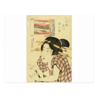 Un retrato del busto de una belleza de Keisai Postal