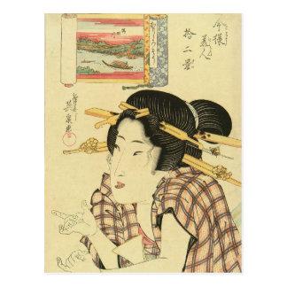 Un retrato del busto de una belleza de Keisai Tarjeta Postal