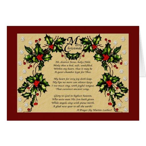 Un rezo del navidad tarjeta de felicitación