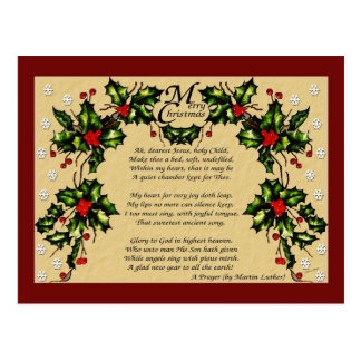 Un rezo del navidad tarjeta postal