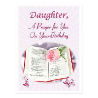 Un rezo para una hija en su cumpleaños tarjeta postal