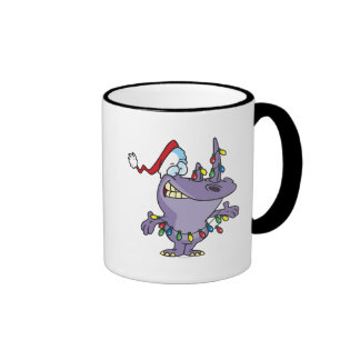 un rinoceronte lindo tonto de santa del navidad tazas