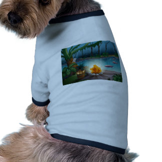 Un río y un fuego del campo en una selva ropa de perros