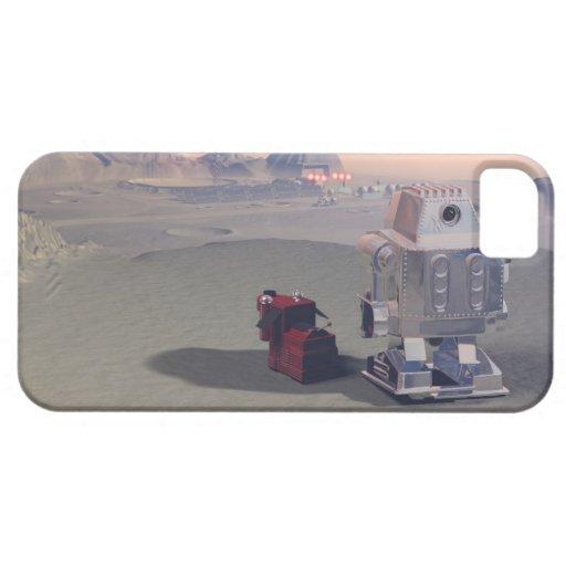 Un robot y el suyo perro 2 funda para iPhone SE/5/5s