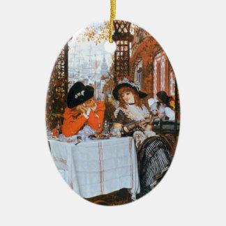 Un romance del alumerzo adorno navideño ovalado de cerámica