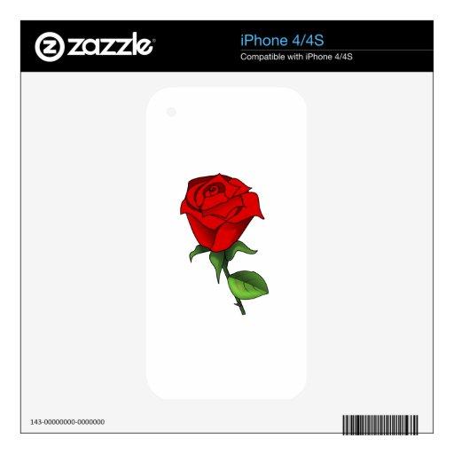 Un rosa rojo Clipart iPhone 4 Skin