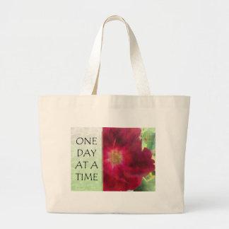 Un rosa rojo del día a la vez bolsa de tela grande