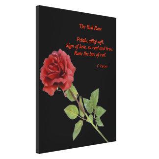Un rosa rojo impresion de lienzo
