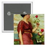 Un rosa rojo, rojo pin cuadrado