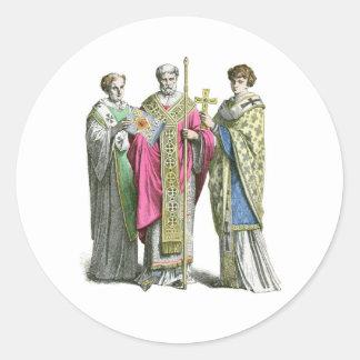 Un sacerdote bizantino etiqueta redonda