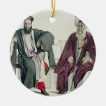 Un sacerdote griego y un turco, grabados por el adorno navideño redondo de cerámica