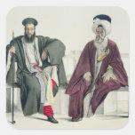 Un sacerdote griego y un turco, grabados por el calcomanias cuadradas