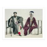 Un sacerdote griego y un turco, grabados por el postales