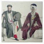 Un sacerdote griego y un turco, grabados por el Th Azulejo Cuadrado Grande