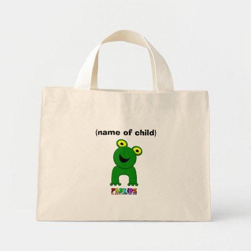 Un salto del mini comprador del niño personalizado bolsas lienzo
