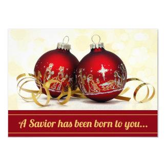 """Un salvador ha sido ornamento nacido del navidad invitación 4.5"""" x 6.25"""""""