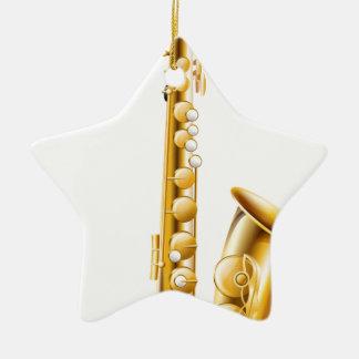 Un saxofón del oro adorno de cerámica en forma de estrella