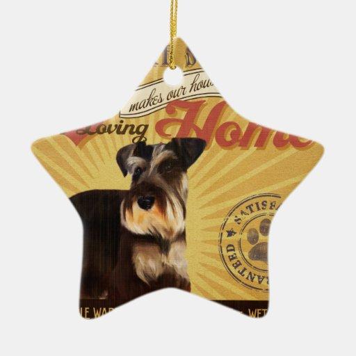 Un Schnauzer miniatura cariñoso hace nuestro hogar Adorno Navideño De Cerámica En Forma De Estrella