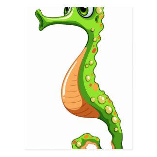 Un seahorse verde postal
