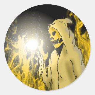 Un segador en el infierno (oro) etiquetas redondas