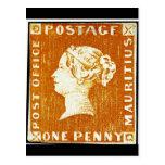 Un sello de Mauricio del Imperio británico del pen Postal