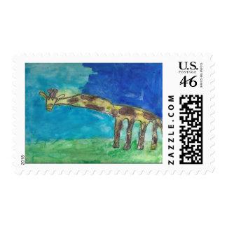 Un sello tímido de la jirafa