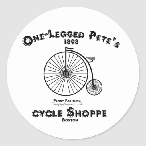 Un Shoppe del ciclo de Pete Legged, Boston Pegatina Redonda