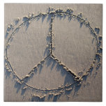Un signo de la paz dibujado en la arena teja