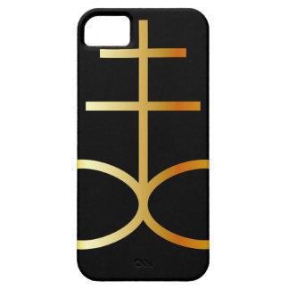 Un símbolo de oro de la cruz o del azufre del funda para iPhone SE/5/5s