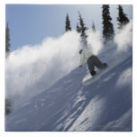 Un snowboarder de sexo masculino que rasga el azulejo cuadrado grande