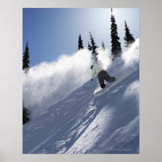 Un snowboarder de sexo masculino que rasga el póster