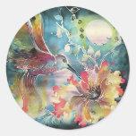 Un solo colibrí etiquetas redondas