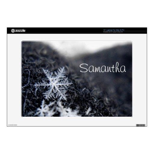 Un solo copo de nieve encendido se destaca portátil calcomanía