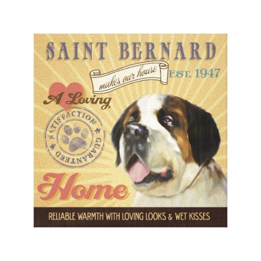 Un St Bernard cariñoso hace nuestro hogar de la ca Impresión En Lona Estirada