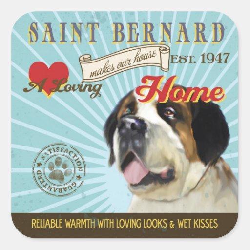 Un St Bernard cariñoso hace nuestro hogar de la Pegatinas Cuadradas Personalizadas