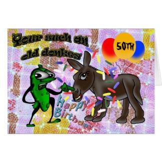 Un su burro tan viejo - feliz cumpleaños tarjeta de felicitación